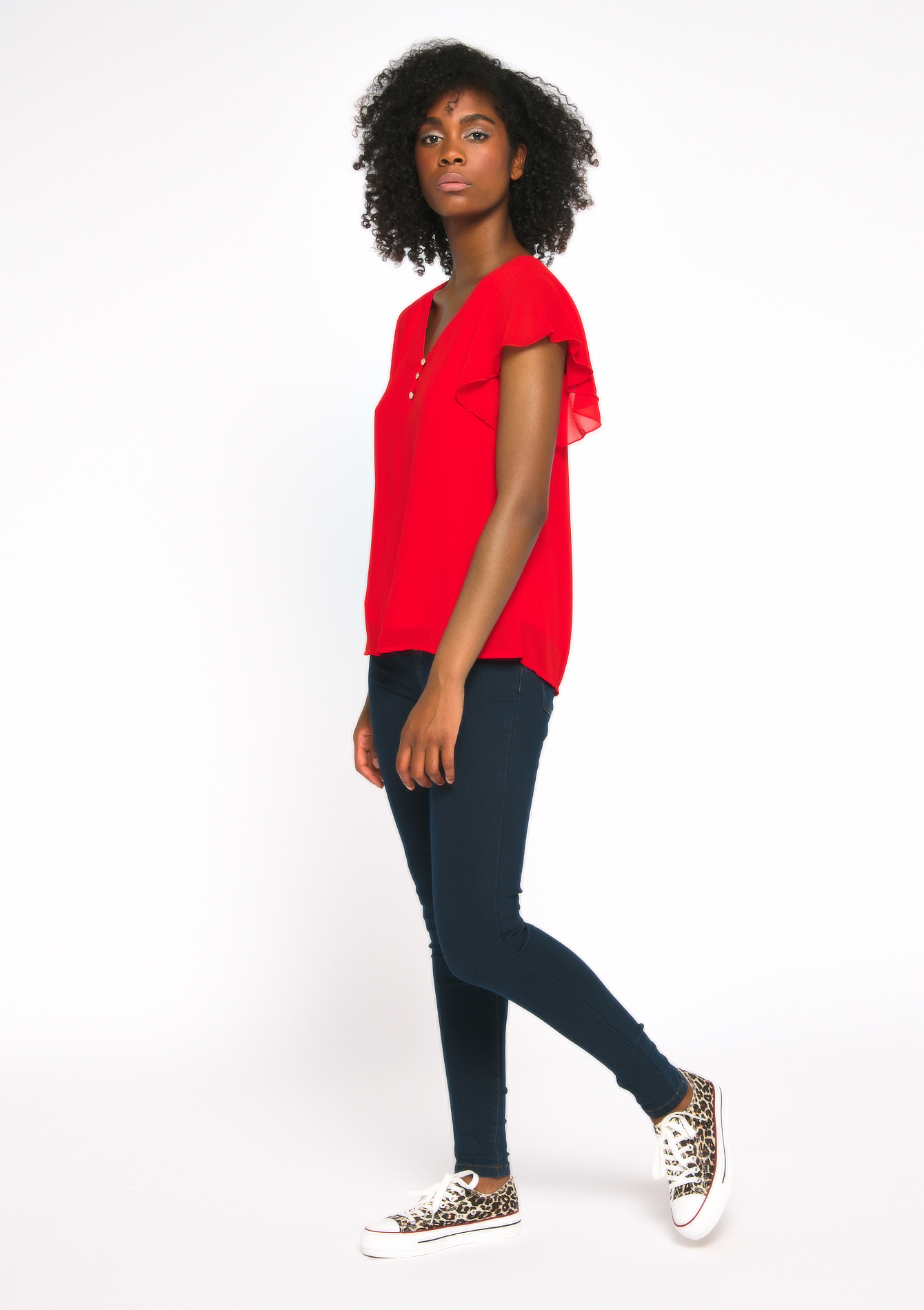 Blouse korte mouwen - FIERY RED - 05700356_1380