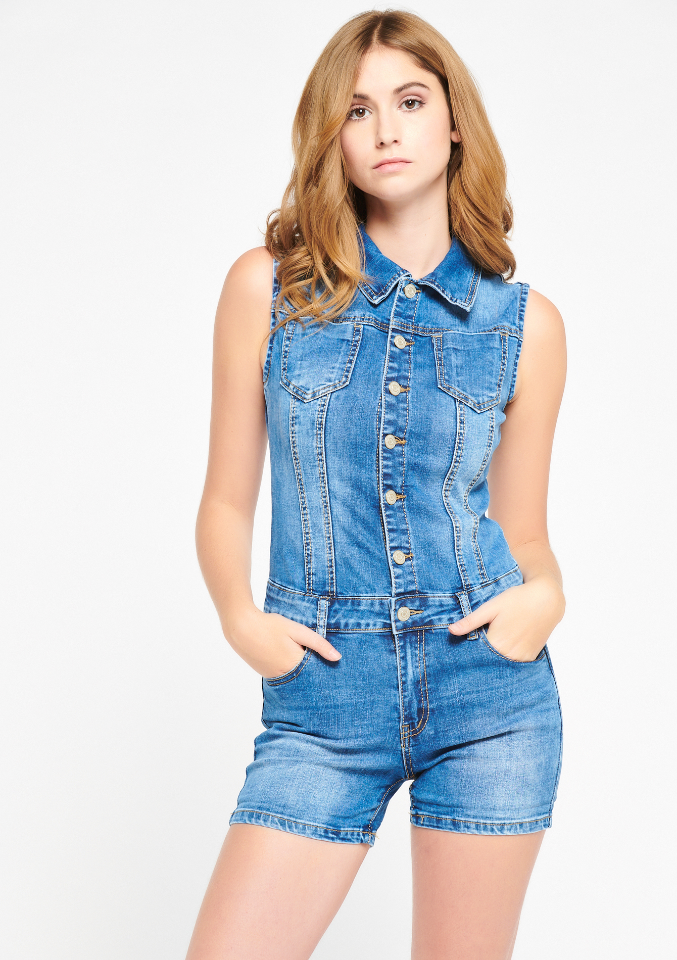 Short-salopette in jeans - MEDIUM BLUE - 22000139_500