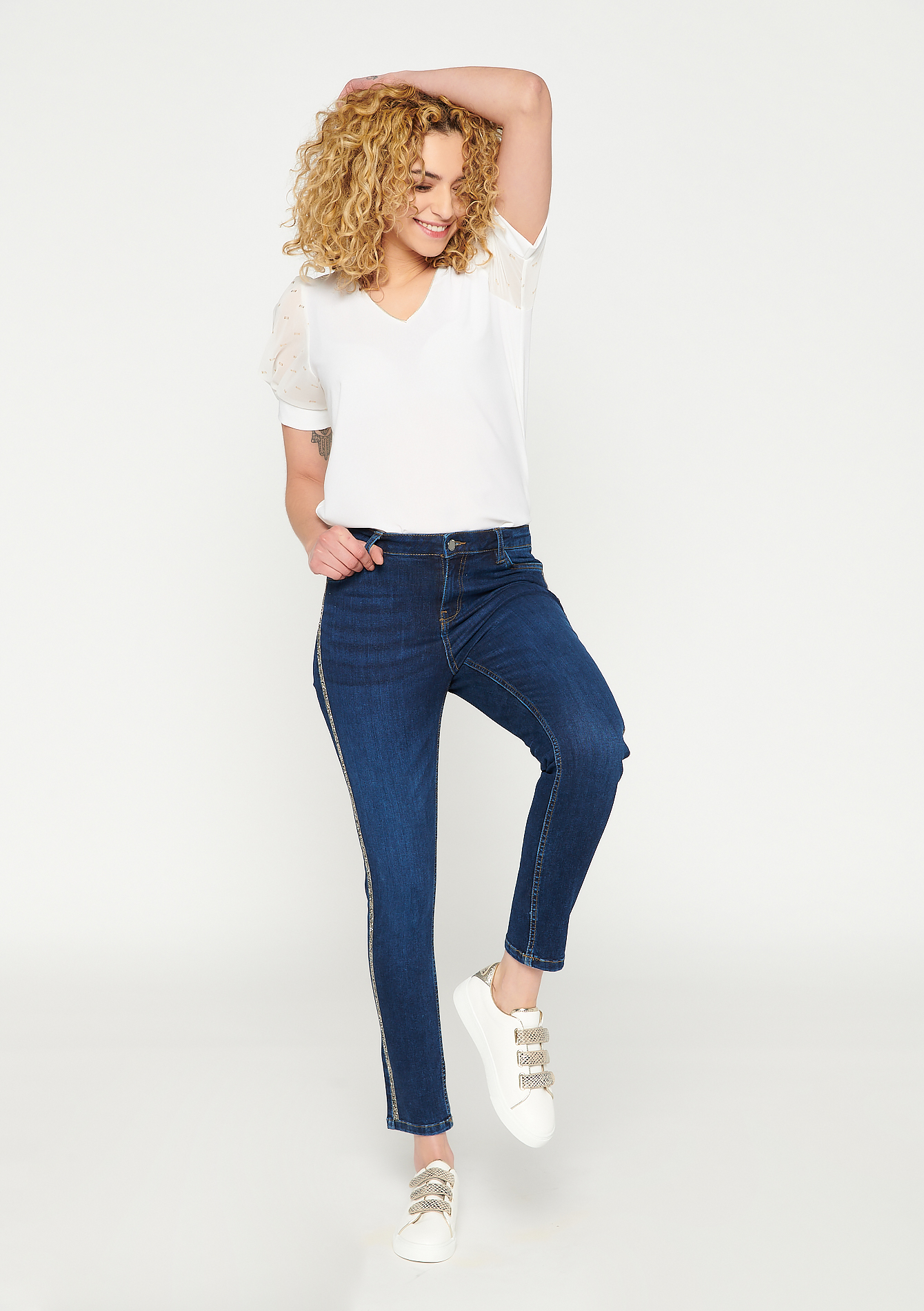 Jeans skinny eco-wash bande pailletée - DARK BLUE - 22000287_0501