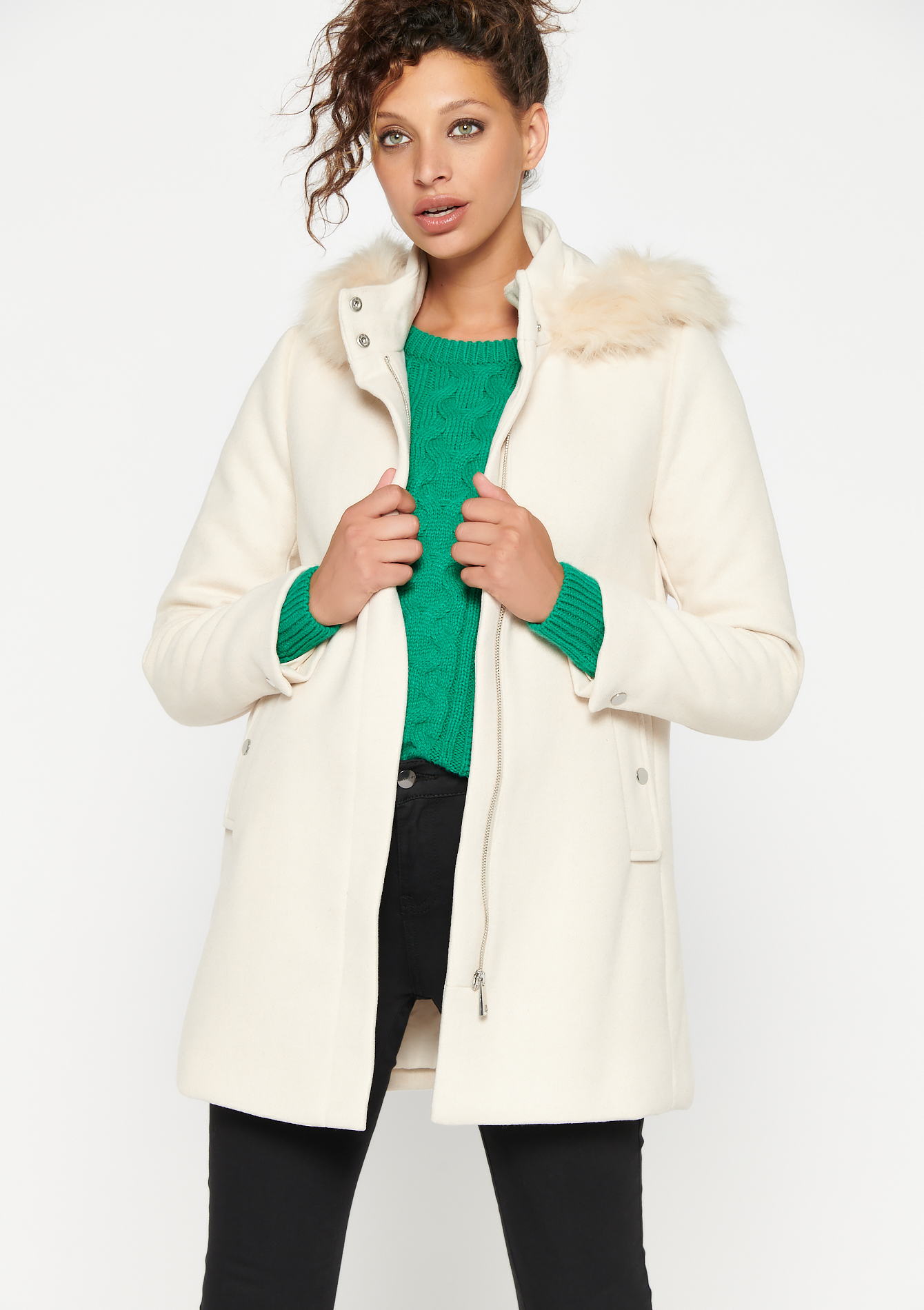 Hooded coat with fur collar - OFFWHITE - 23000283_1001