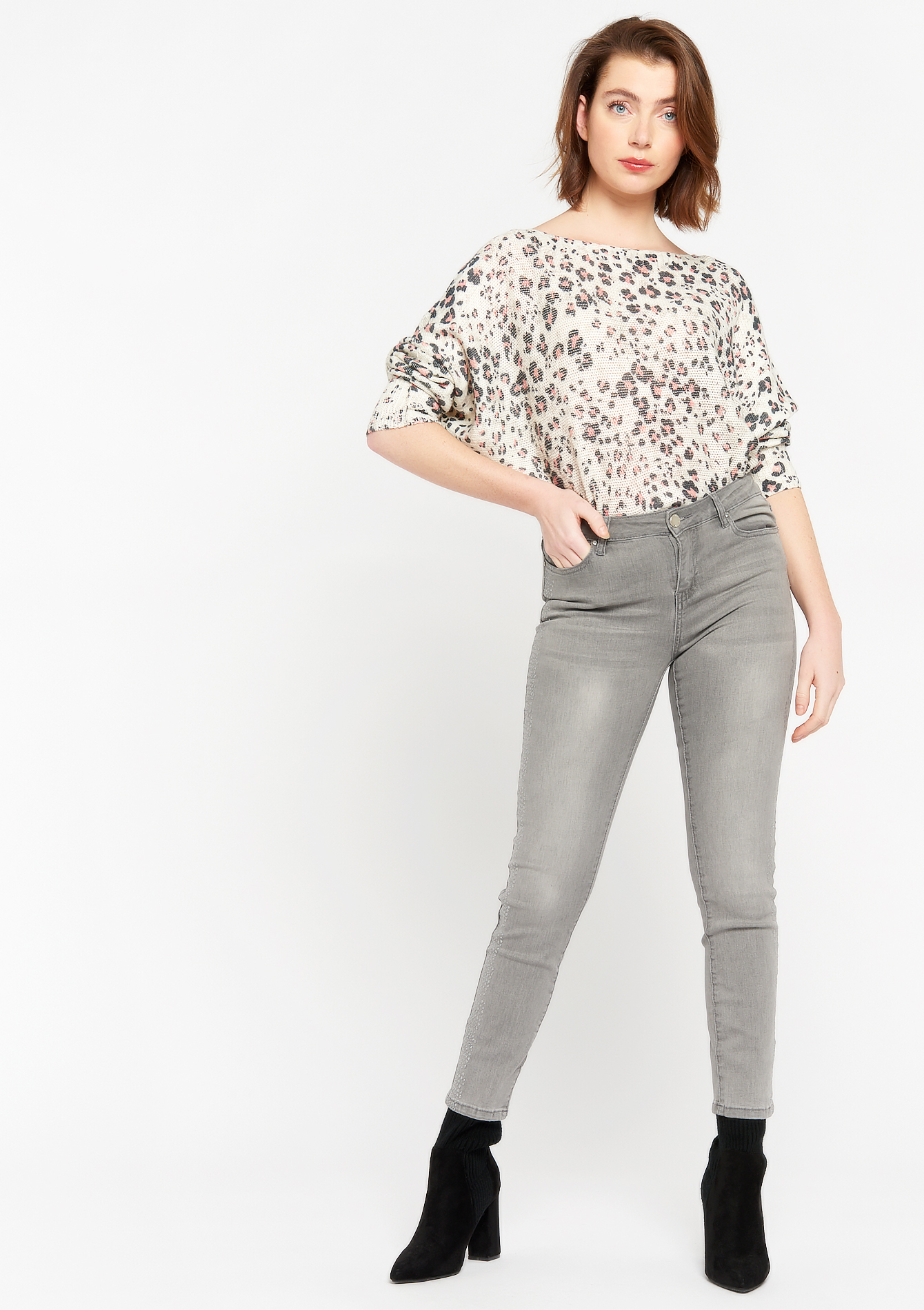 Skinny pants with mini sequins - LIGHT GREY - 22000283_0511