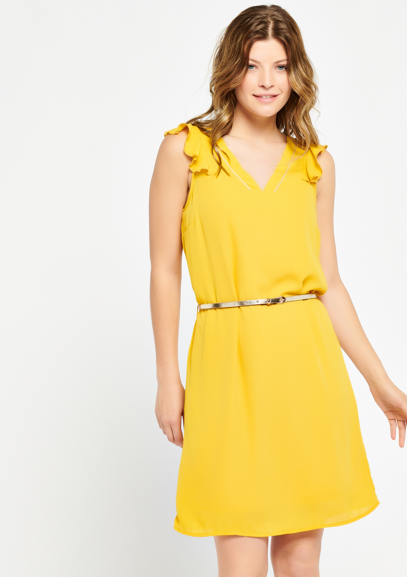 Robe sans manches, ceinture - LEMON CURRY - 928408