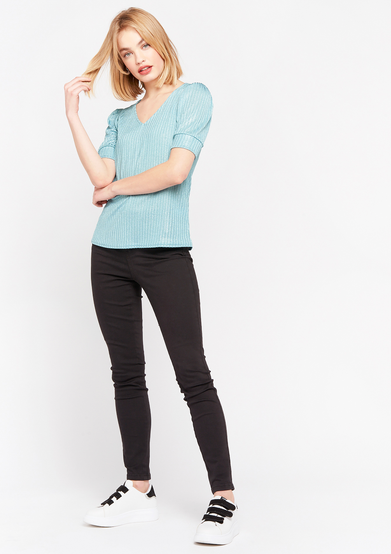V-neck T-shirt with lurex stripes - ALMOND GREEN - 02300898_1724