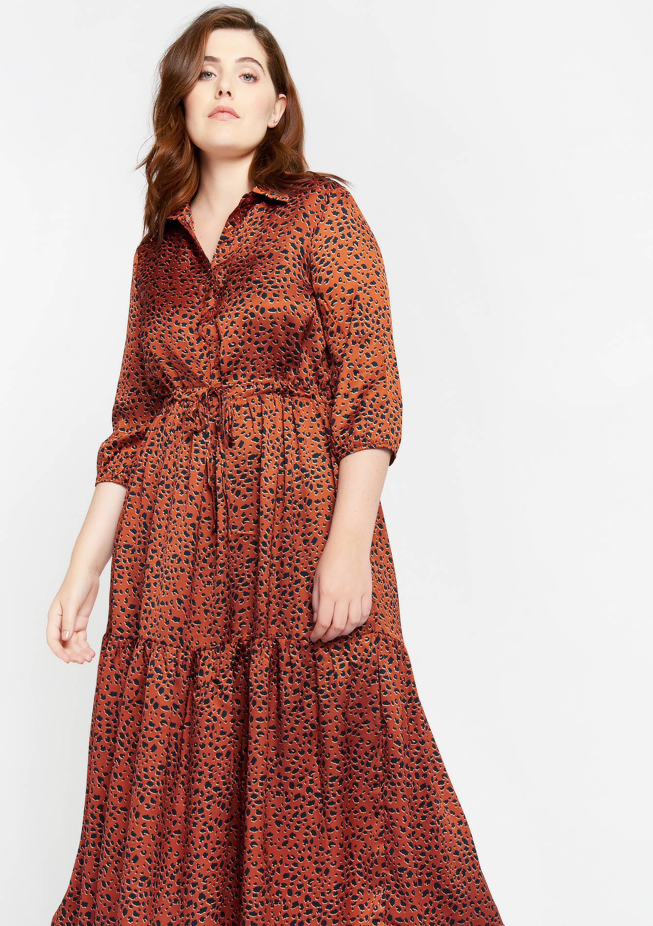 Shirt dress with leopard print - RUST - 08601185_3718