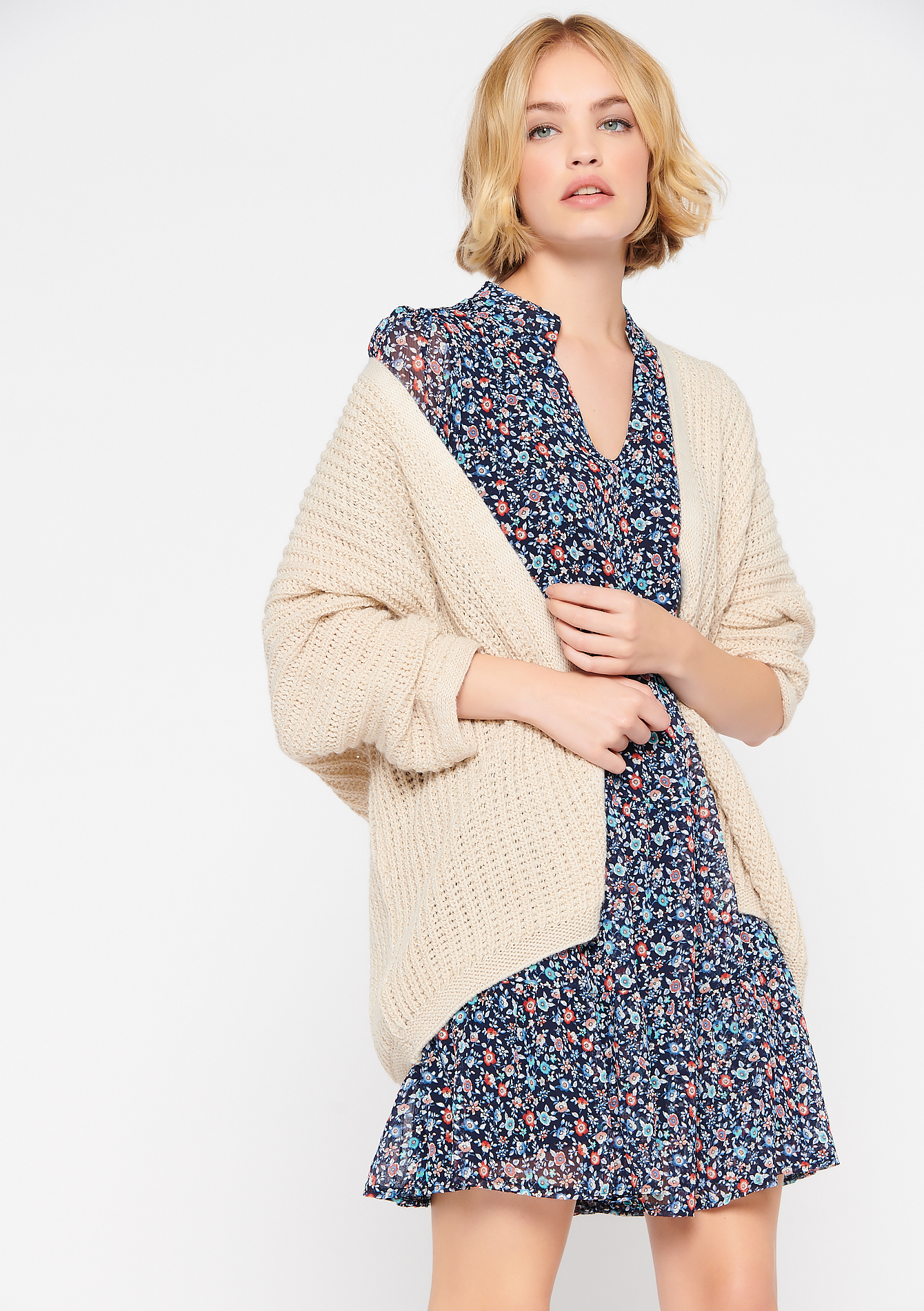 Cardigan met lurex - BEIGE BIRCH - 04100769_1929