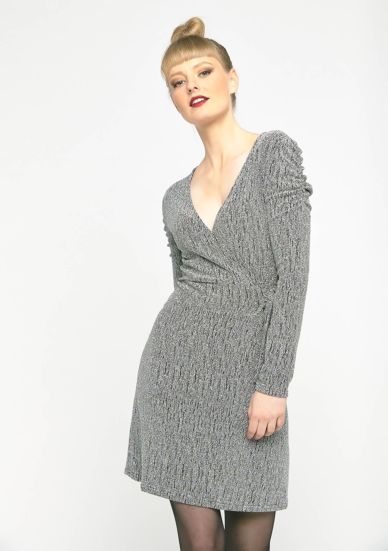 Sparkly wrap-dress - SILVER - 08102057_1059