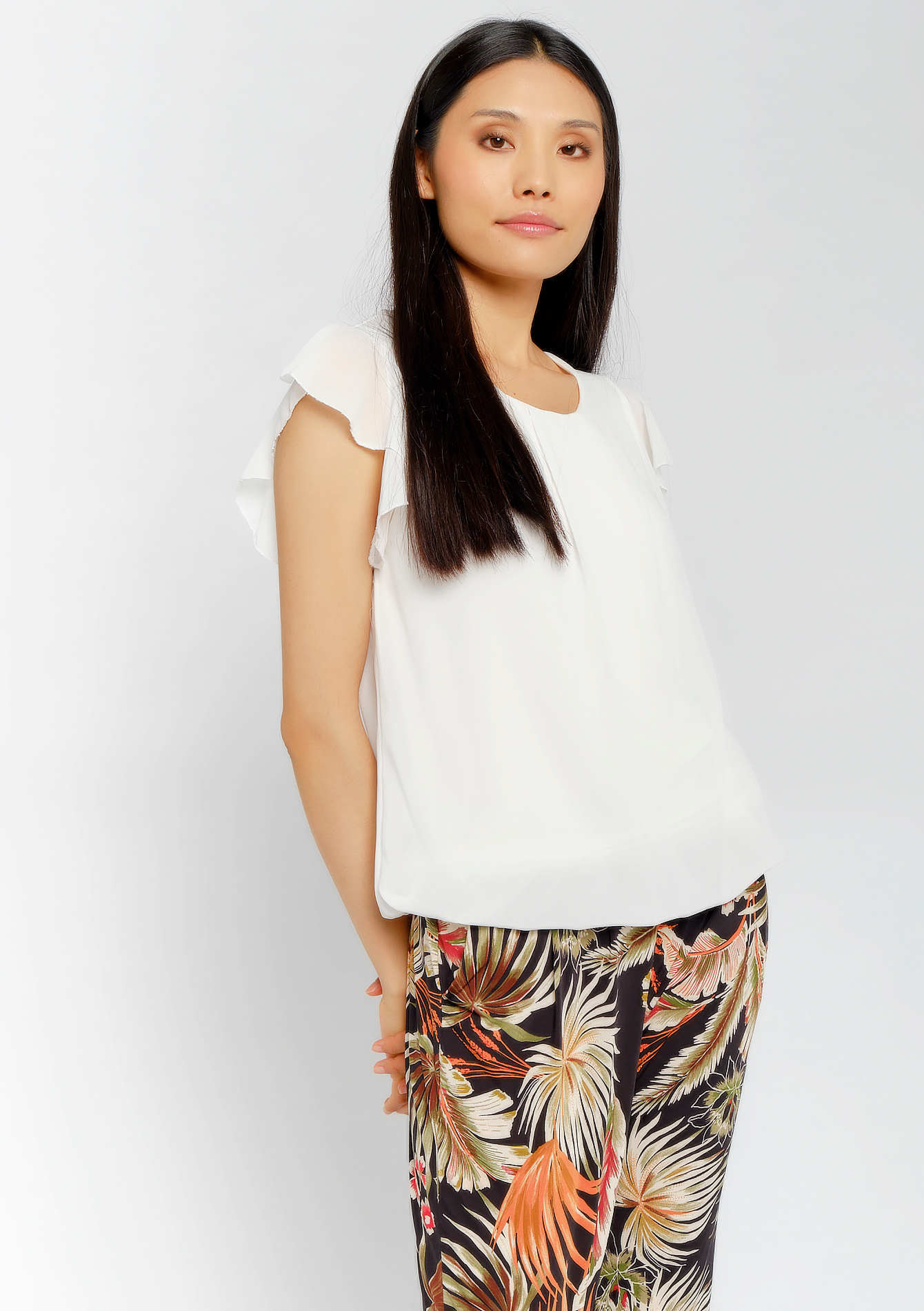 Blouse mouwen met ruches - OFFWHITE - 965693