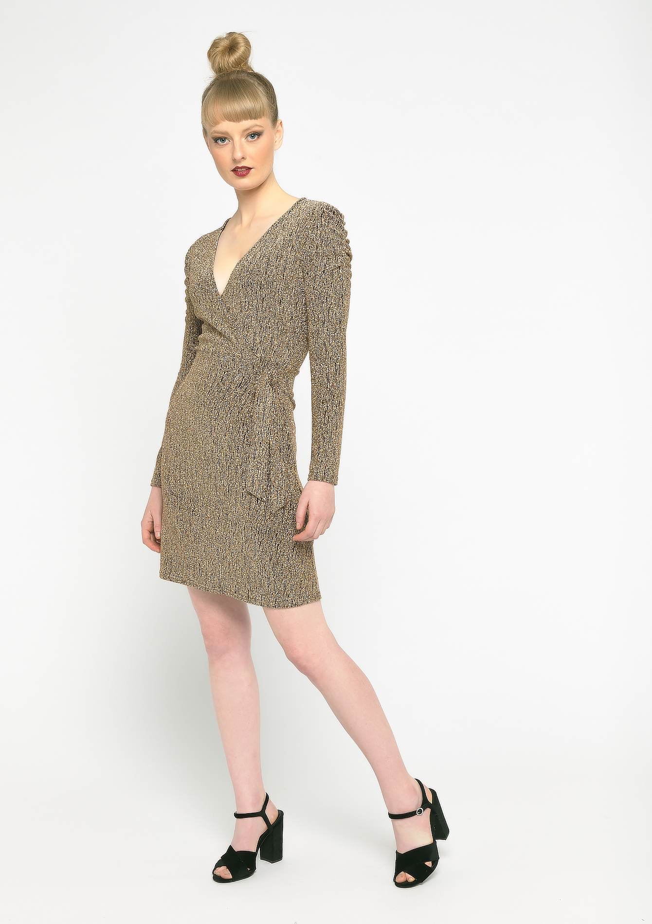 Sparkly wrap-dress - COPPER - 08102057_6301