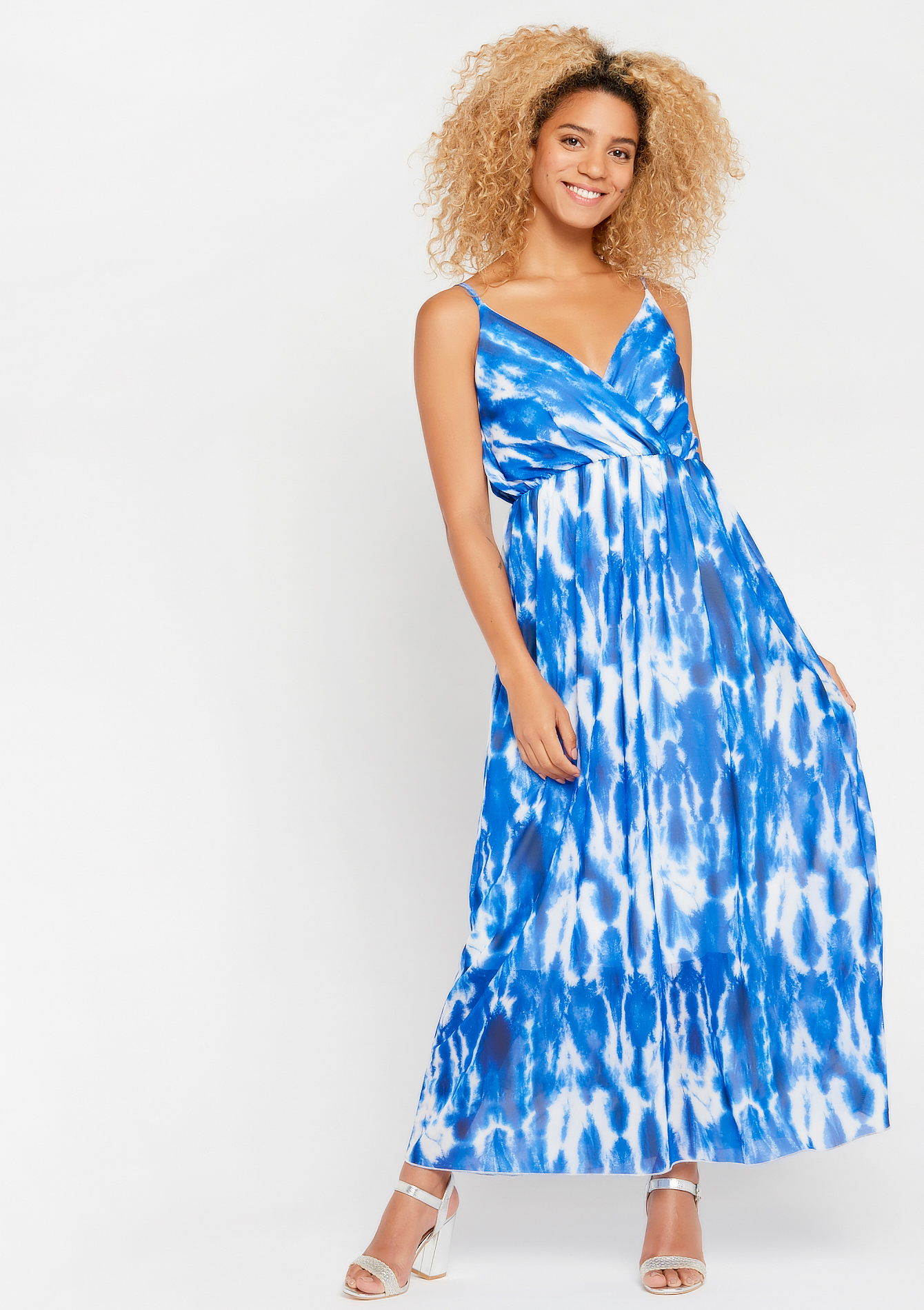 Robe tie dye,  fines bretelles - BLUE QUARTZ - 952906