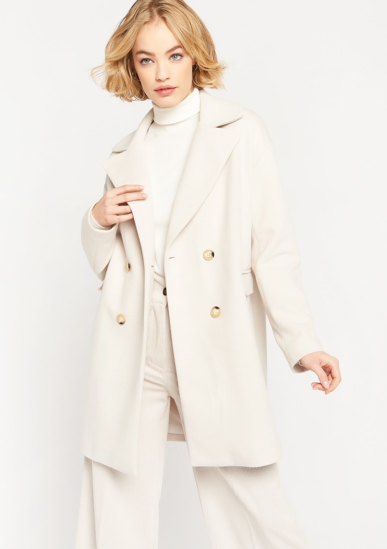 Classic coat with large collar - OFFWHITE - 23000323_1001