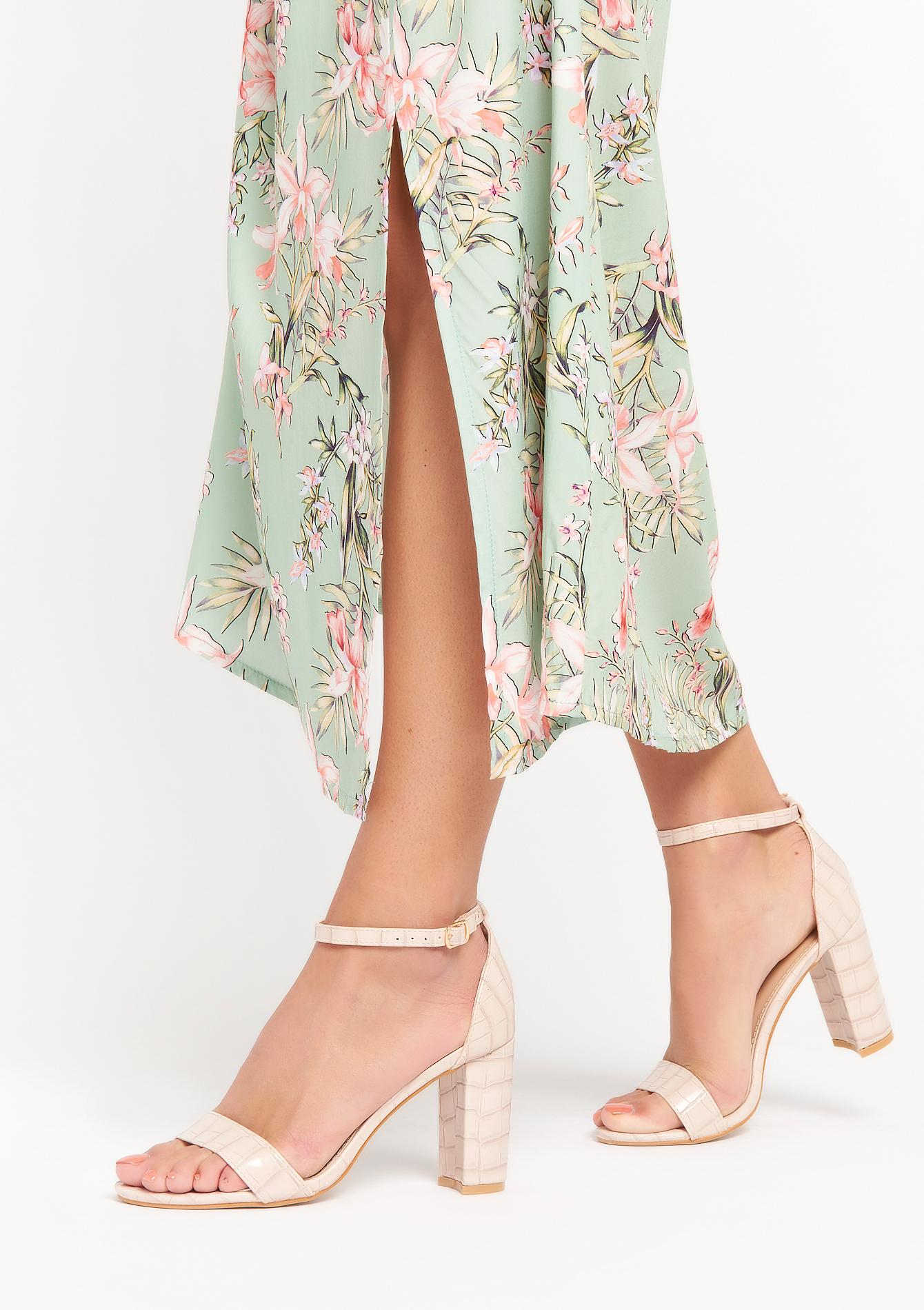 Sandales à talon haut carré en croco